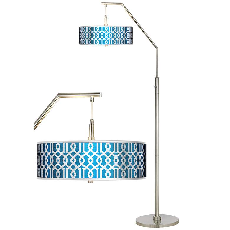 Chain Reaction Silver Metallic Giclee Shade Arc Floor Lamp