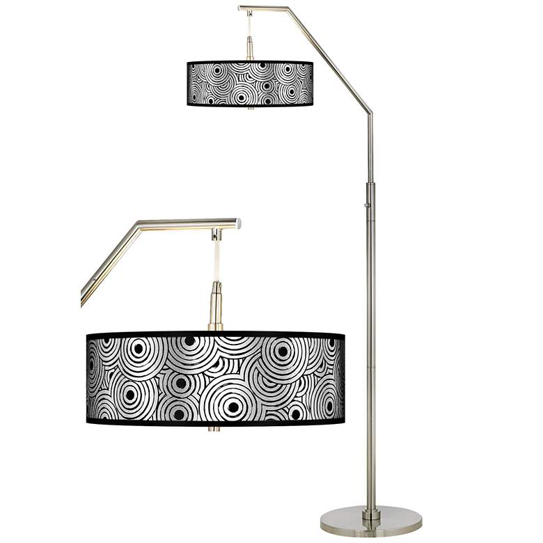 Circle Daze Silver Metallic Giclee Shade Arc Floor Lamp