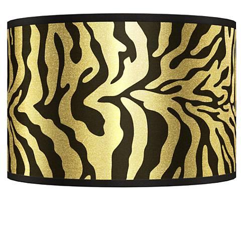 Safari Zebra Gold Metallic Giclee Shade 12x12x8.5 (Spider)