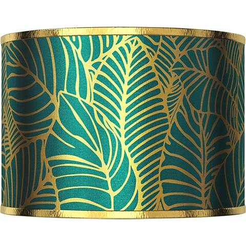 Tropical Leaves Gold Metallic Giclee Shade 12x12x8.5 (Spider)