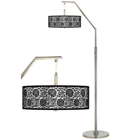 Thomas Paul Blossom Silver Metallic Giclee Shade Arc Floor Lamp