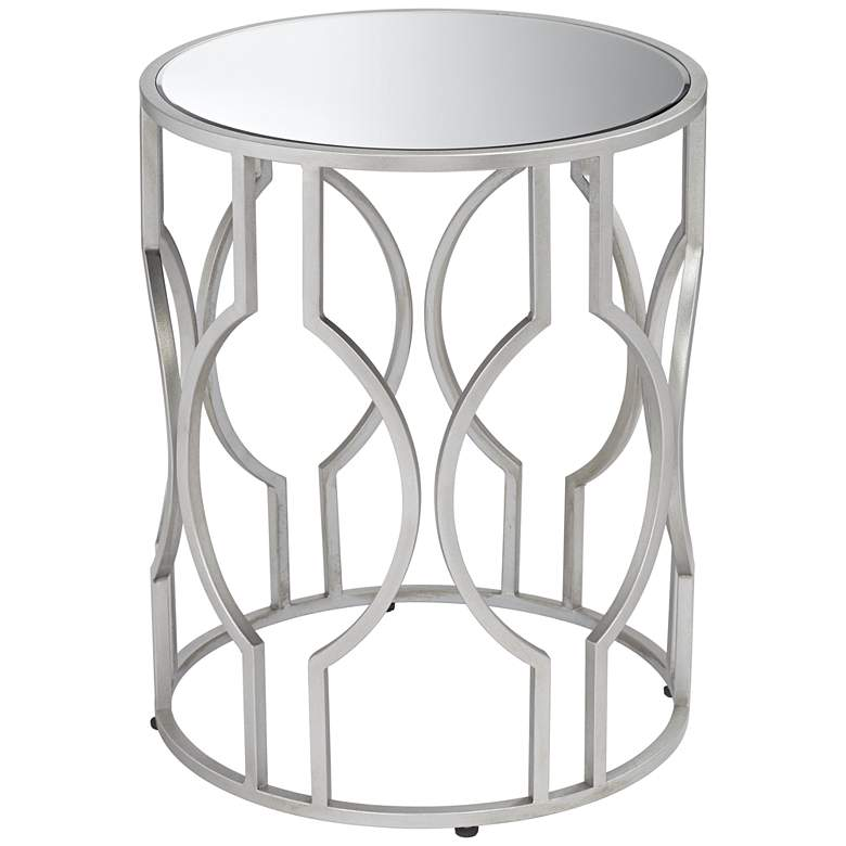 """Fara 20"""" Wide Silver and Mirrored Top Round End Table"""