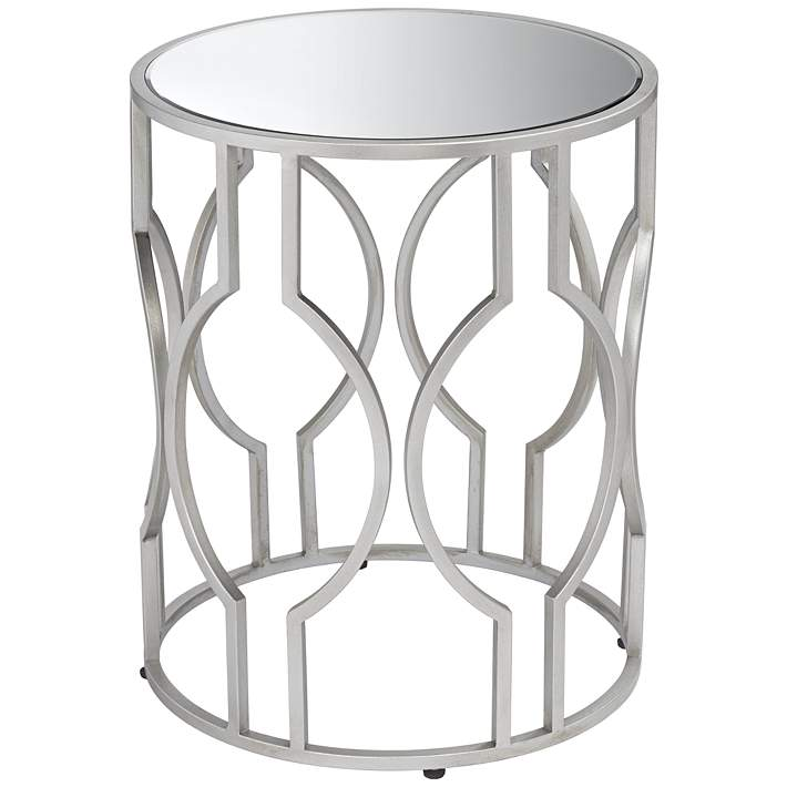 Fara 20 Wide Silver And Mirrored Top Round End Table