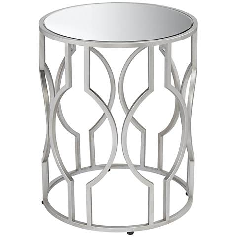 Fara Mirrored Top and Silver Openwork Round End Table