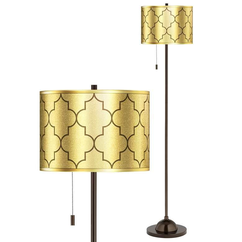 Tangier Gold Metallic Giclee Glow Bronze Club Floor Lamp