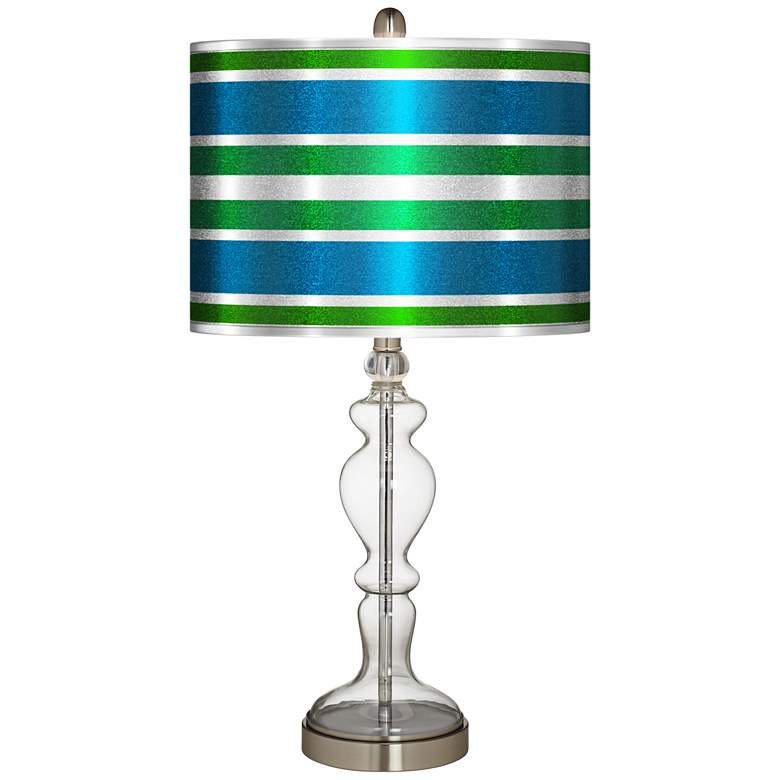Multi Color Stripes Silver Metallic Apothecary Table Lamp