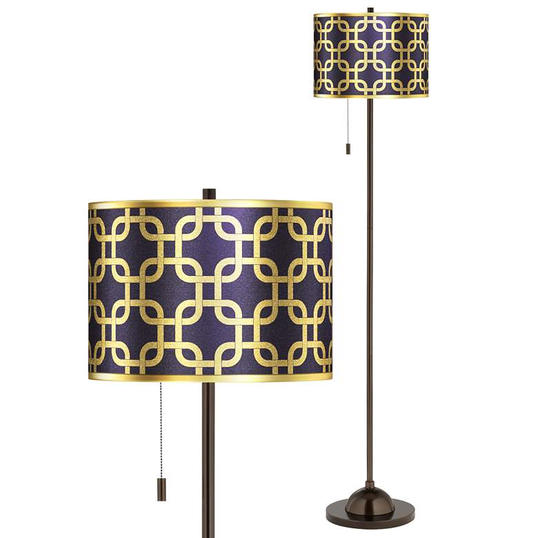 Lattice Gold Metallic Giclee Glow Bronze Club Floor Lamp