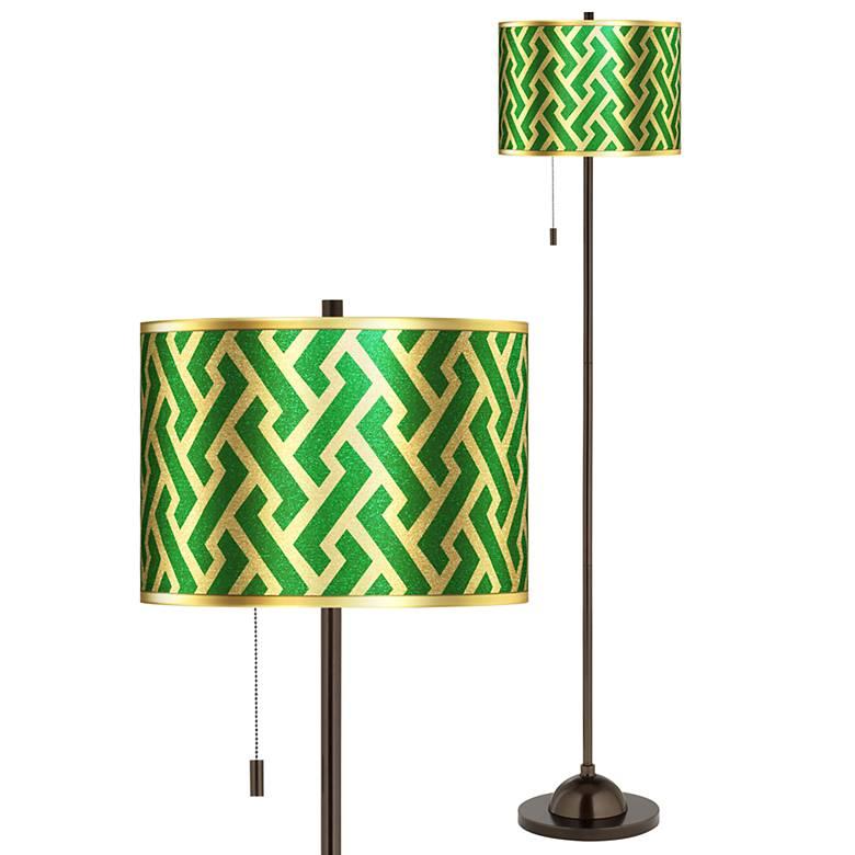 Brick Weave Gold Metallic Giclee Glow Bronze Club Floor Lamp