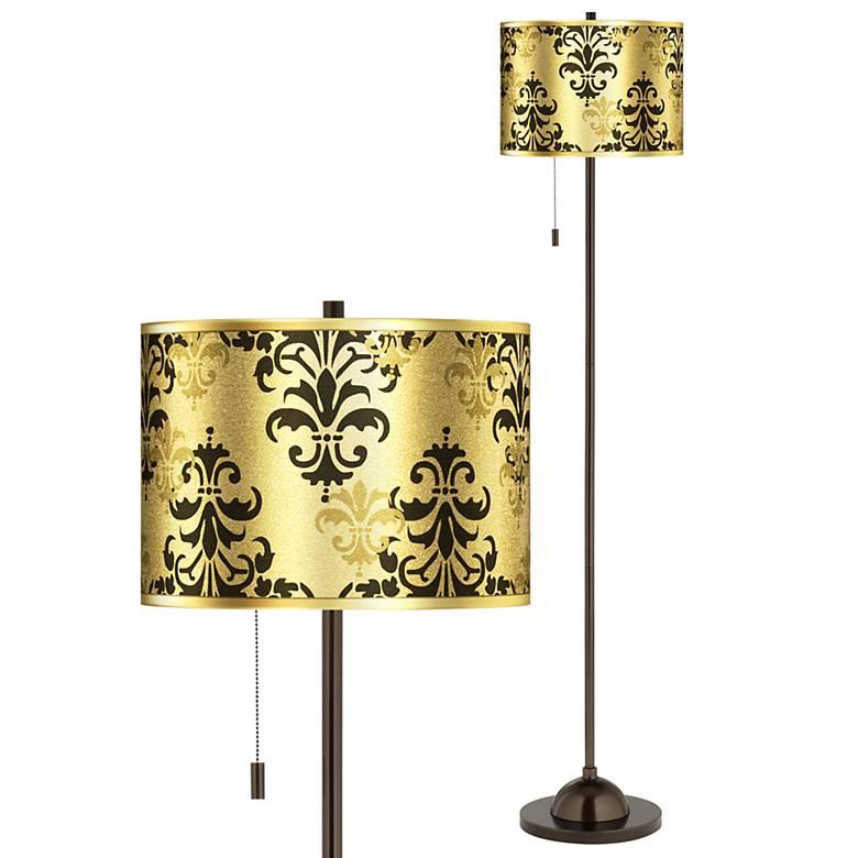 Damask Shadow Gold Metallic Giclee Glow Bronze Club Floor Lamp