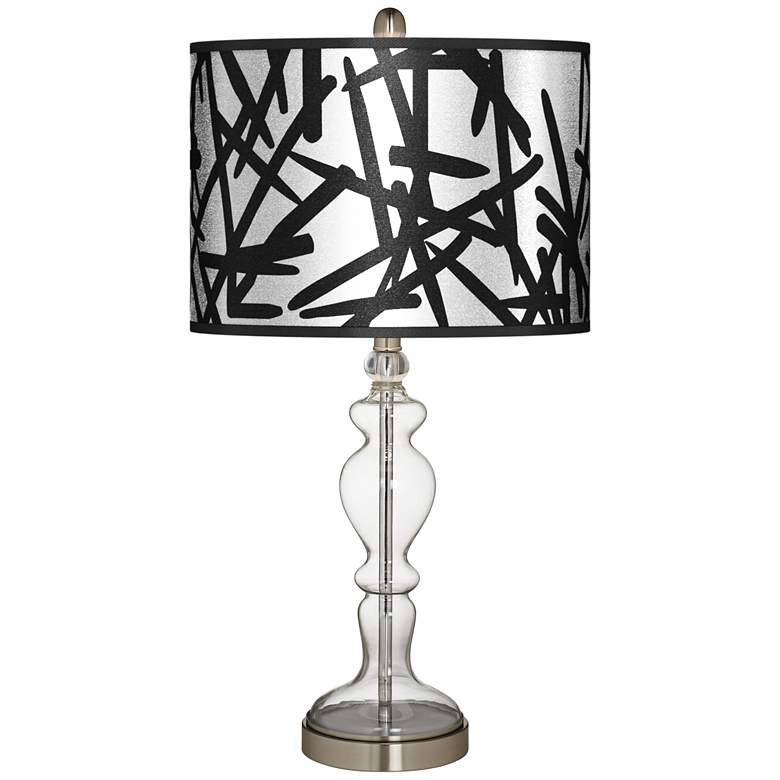 Sketchy Silver Metallic Giclee Apothecary Clear Glass Table Lamp
