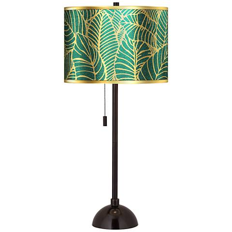 Tropical Leaves Gold Metallic Tiger Bronze Club Table Lamp