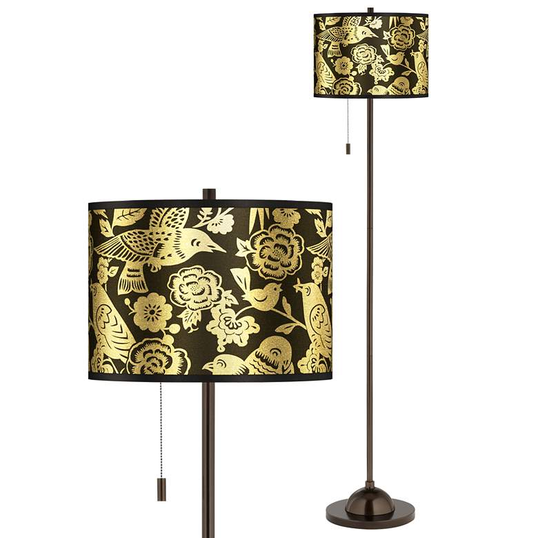 Thomas Paul Aviary Gold Metallic Bronze Club Floor Lamp