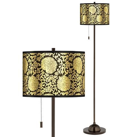 Thomas Paul Blossom Gold Metallic Bronze Club Floor Lamp