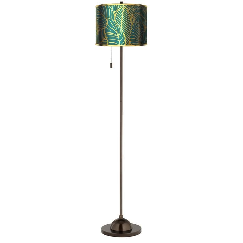 Tropical Leaves Gold Metallic Giclee Glow Bronze Club Floor Lamp