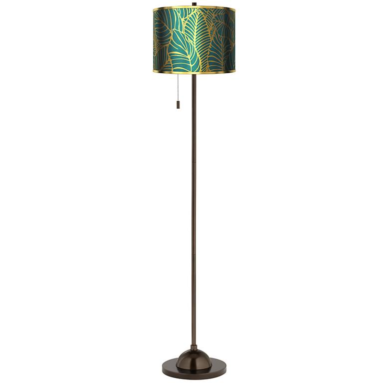 Tropical Leaves Gold Metallic Giclee Glow Bronze Club Floor Lamp