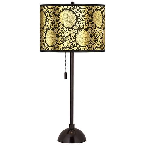 Thomas Paul Blossom Gold Metallic Tiger Bronze Club Table Lamp