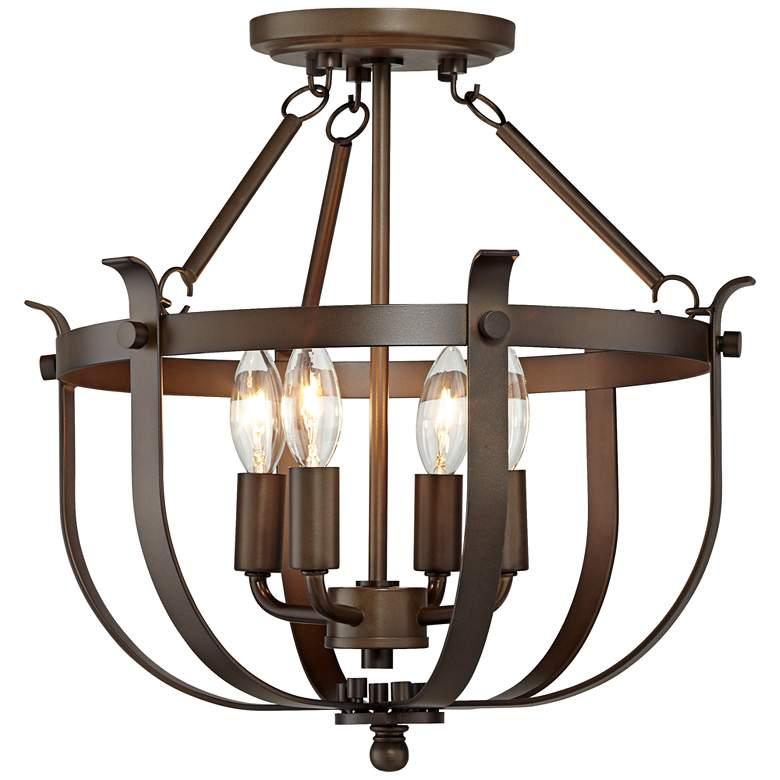 "Brunswick 15"" Wide Bronze Cage 4-Light Ceiling Light"