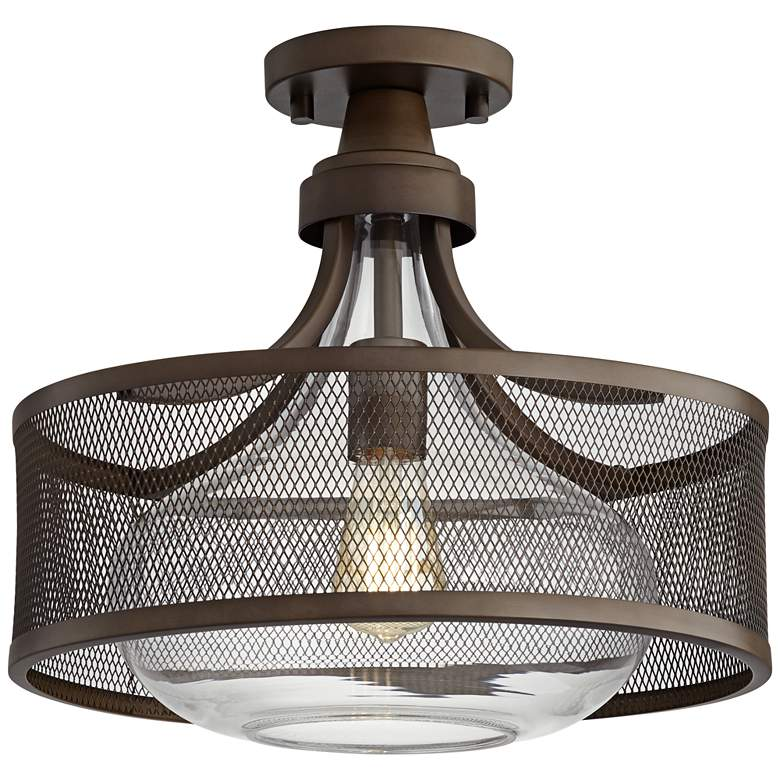 "Possini Euro Luis 15"" Wide Bronze Metal Ceiling Light"