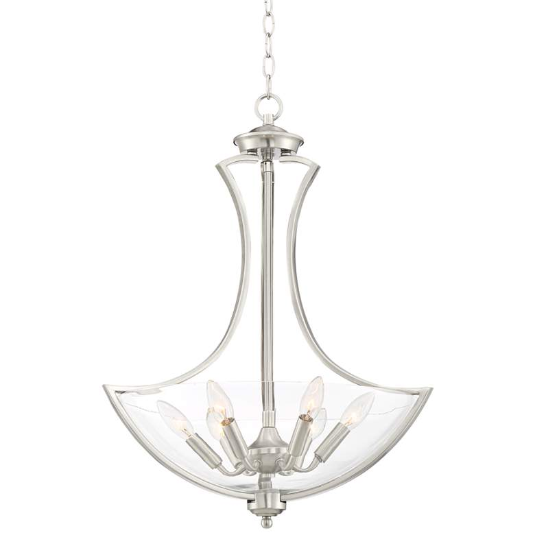 "Possini Euro Milbury 19 1/2""W Nickel Bowl 6-Light Pendant"