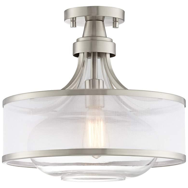 "Possini Euro Layne 15"" Wide Brushed Nickel Ceiling Light"