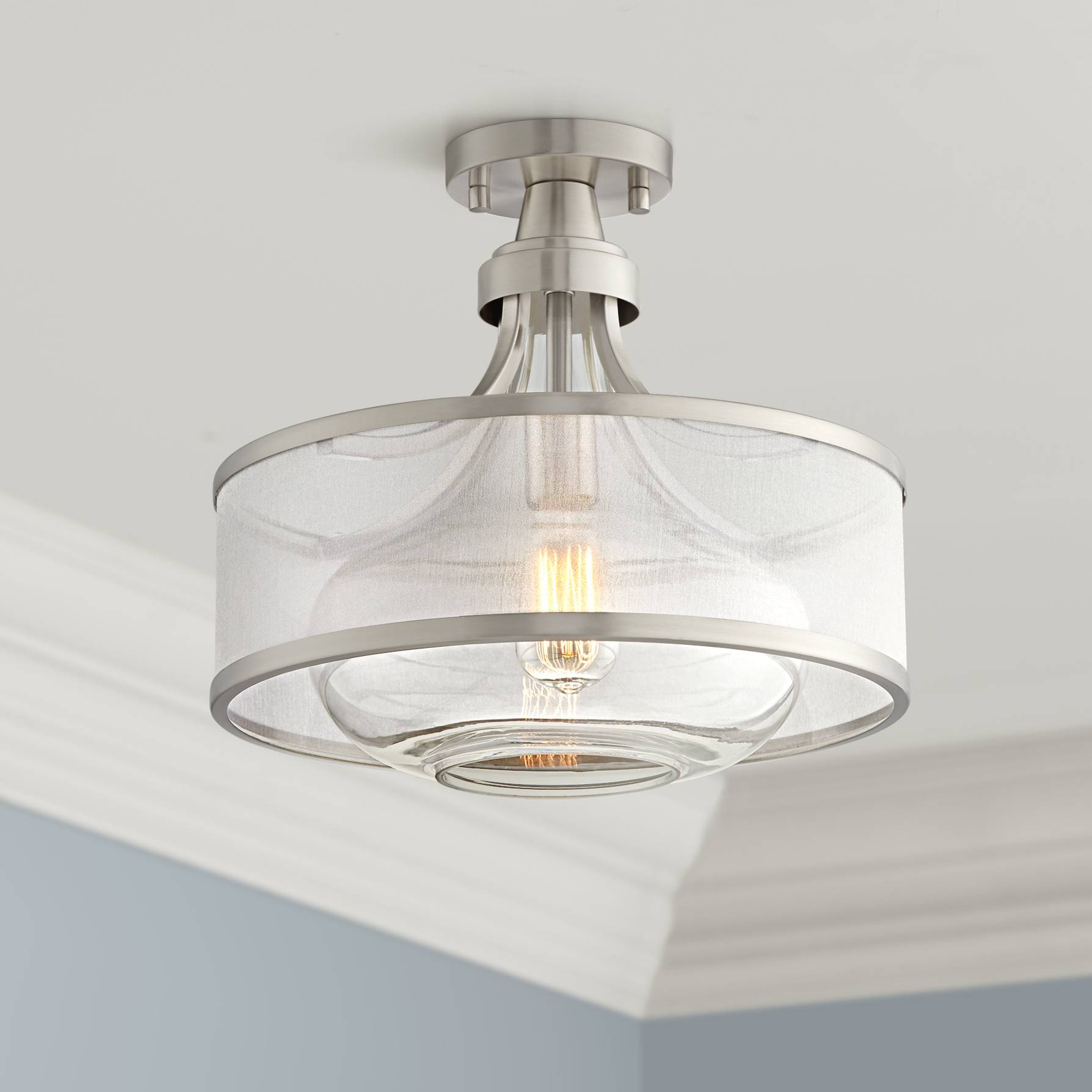 Details About Modern Ceiling Light Semi Flush Mount Fixture Nickel 15 Double Shade Bedroom