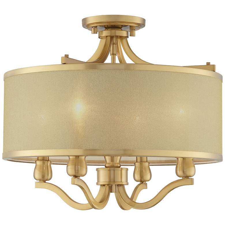 "Possini Euro Nor 18"" Wide Brass 4-Light Ceiling Light"