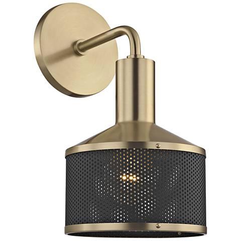 "Mitzi Yoko 11 1/2"" High Aged Brass Wall Sconce"