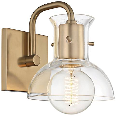 "Mitzi Riley 8"" High Aged Brass Wall Sconce"