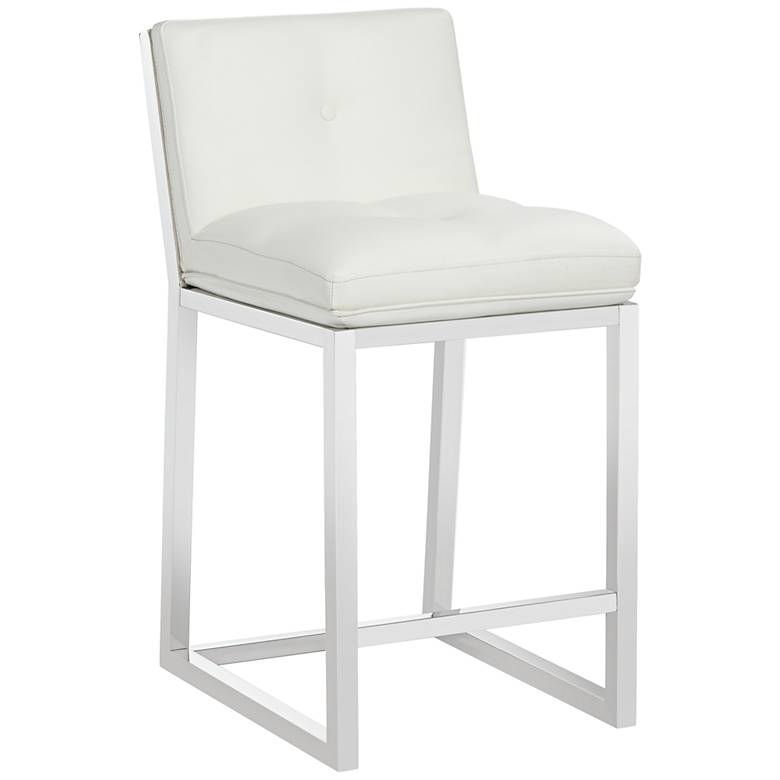 """Alba 26"""" White Faux Leather Tufted Counter Stool"""