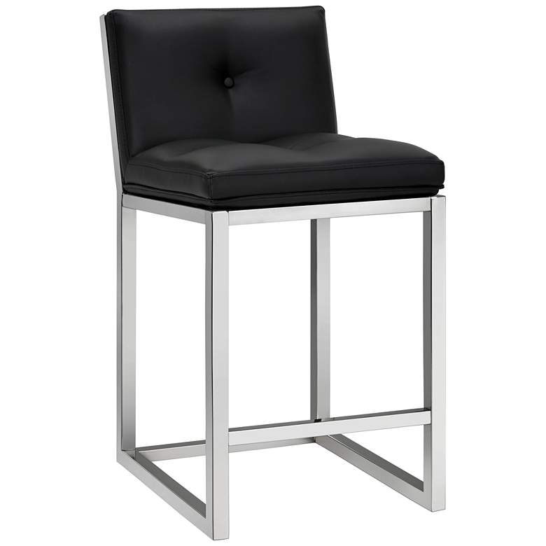"""Alba 26"""" Black Faux Leather Tufted Counter Stool"""