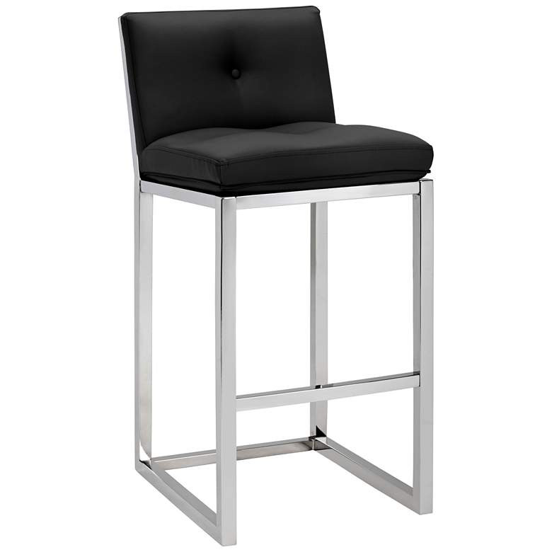 "Alba 30"" Black Faux Leather Tufted Bar Stool"