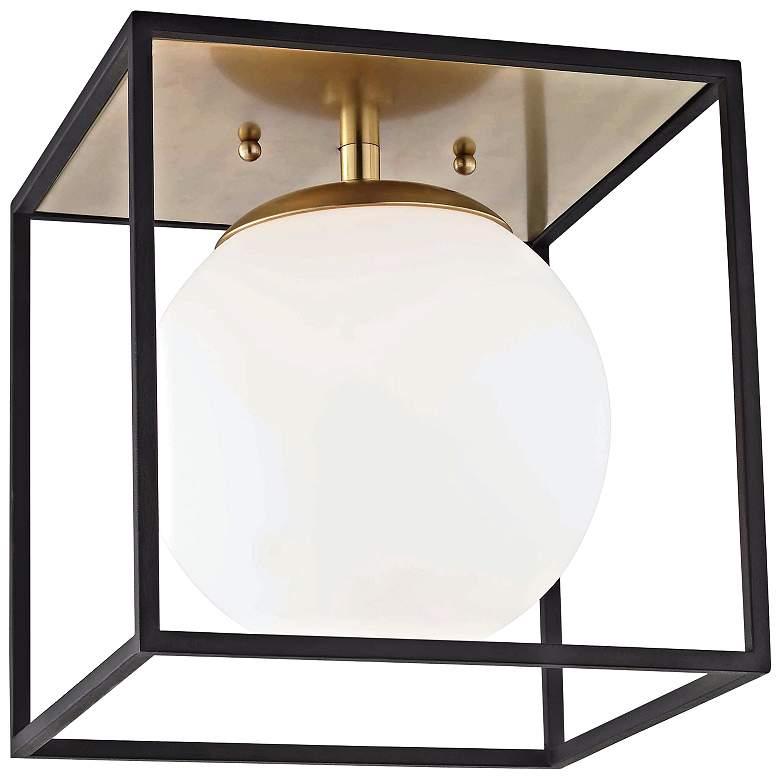 """Mitzi Aira 14"""" Wide Aged Brass Ceiling Light"""