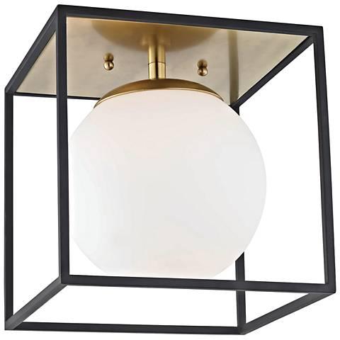 """Mitzi Aira 9 1/2"""" Wide Aged Brass Ceiling Light"""