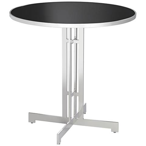 "Alba 40"" Wide Polished Stainless Steel Round Bar Table"