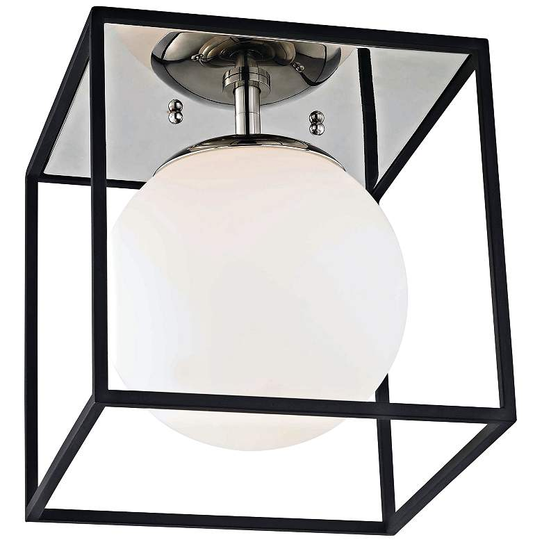 """Mitzi Aira 9 1/2"""" Wide Polished Nickel Ceiling Light"""