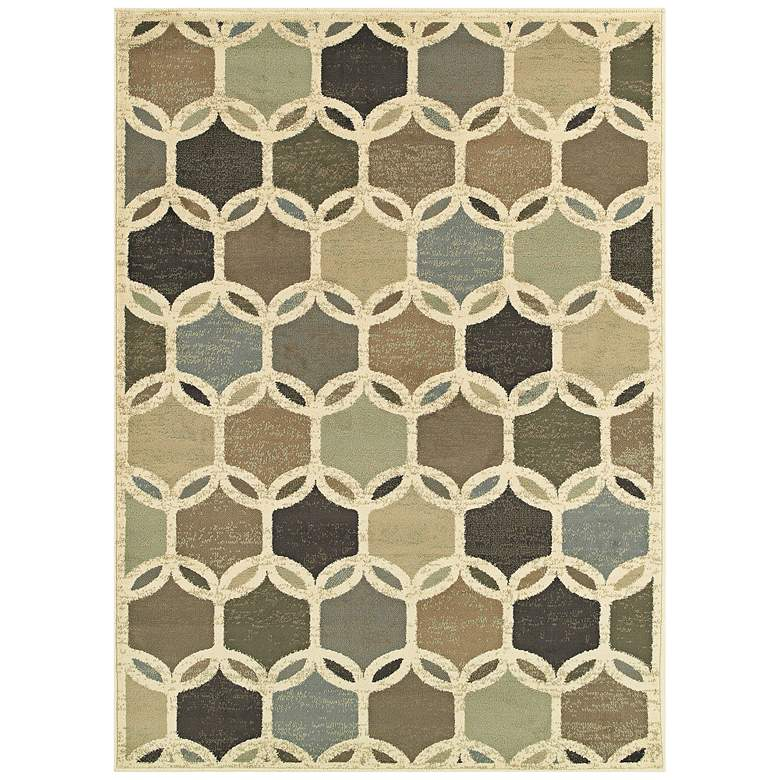 """Brentwood 090W9 5'3""""x7'3"""" Ivory Multi-Color Area Rug"""