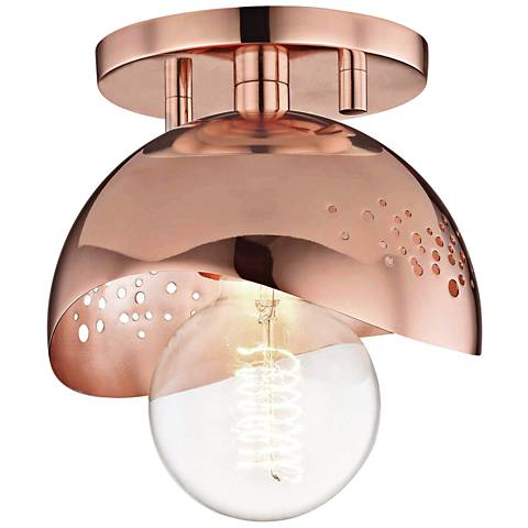 "Mitzi Heidi 5 1/2"" Wide Polished Copper Ceiling Light"