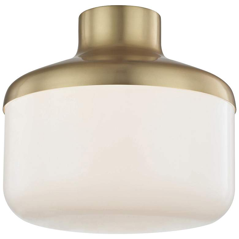 "Mitzi Livvy 12"" Wide Aged Brass Ceiling Light"