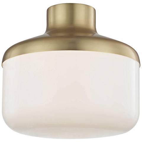 """Mitzi Livvy 12"""" Wide Aged Brass Ceiling Light"""