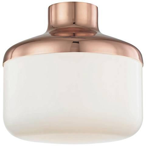 "Mitzi Livvy 12"" Wide Polished Copper Ceiling Light"