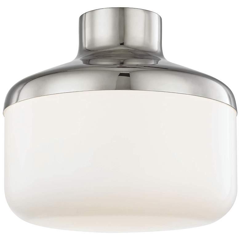 "Mitzi Livvy 12"" Wide Polished Nickel Ceiling Light"