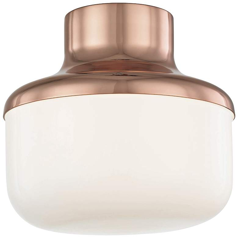 "Mitzi Livvy 9"" Wide Polished Copper Ceiling Light"