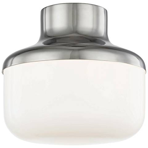 "Mitzi Livvy 9"" Wide Polished Nickel Ceiling Light"