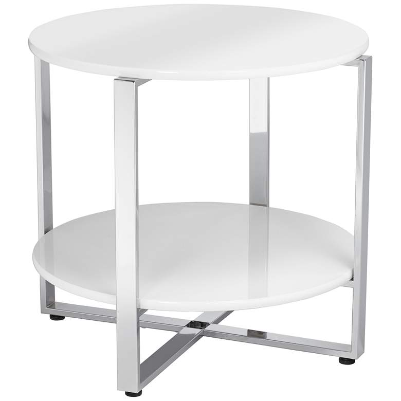 """Haylie 23 1/2"""" Wide White and Chrome Modern Accent Table"""
