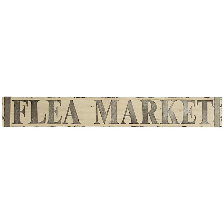 "Flea Market 58"" Wide Metal and Wooden Wall Signage"