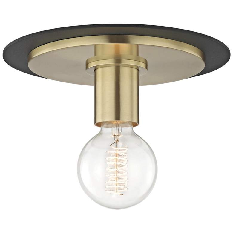"Mitzi Milo 9"" Wide Aged Brass and Black Ceiling Light"