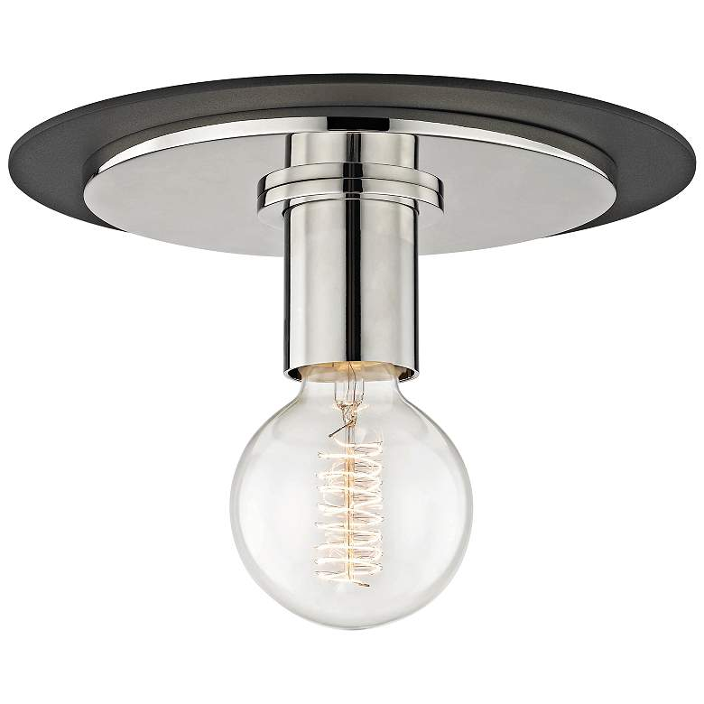 """Mitzi Milo 9"""" Wide Polished Nickel and Black Ceiling Light"""
