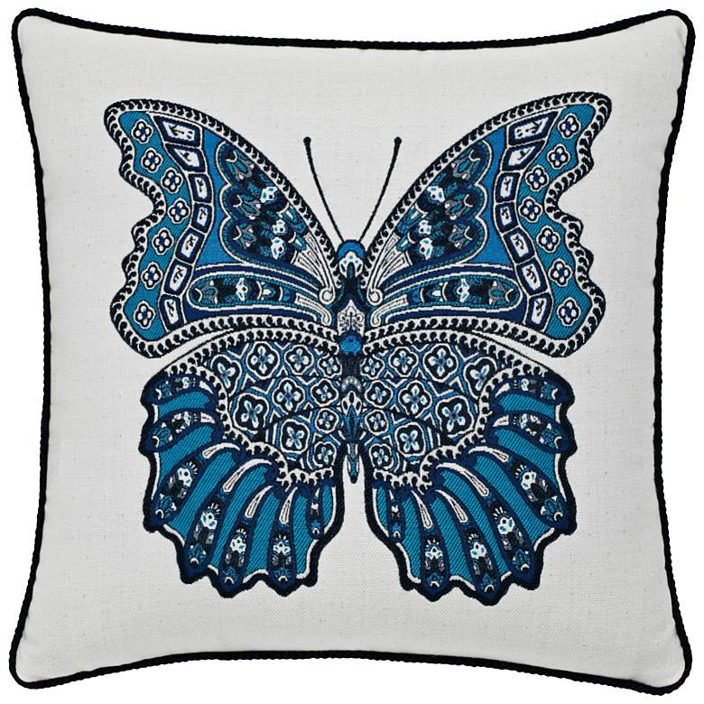 "Mariposa Azure Corded 20"" Square Indoor-Outdoor Pillow"