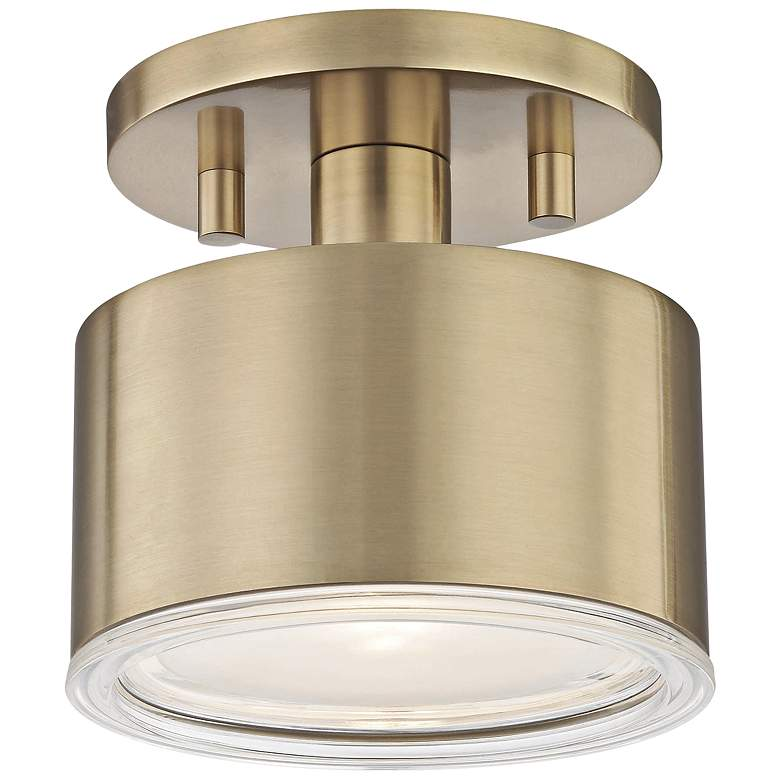 "Mitzi Nora 5 1/4"" Wide Aged Brass LED Ceiling Light"