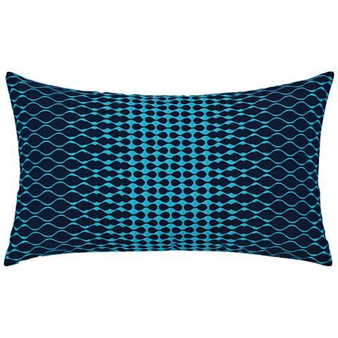 "Optic Azure Blue 20"" x 12"" Lumbar Indoor-Outdoor Pillow"